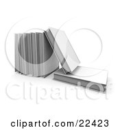 Clipart Illustration Of A White Book Lying Flat With A A Book On Top Of It Leaning Against A Row Of Other Books