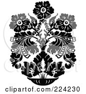 Royalty Free RF Clipart Illustration Of A Black And White Design Of Ornate Flowers 1 by BestVector