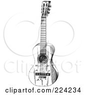 Royalty Free RF Clipart Illustration Of A Black And White Guitar 3 by BestVector