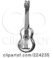 Royalty Free RF Clipart Illustration Of A Black And White Guitar 2 by BestVector