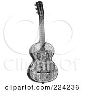 Royalty Free RF Clipart Illustration Of A Black And White Guitar 1 by BestVector
