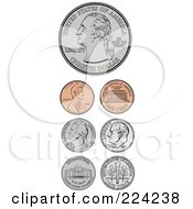 Royalty Free RF Clipart Illustration Of A Digital Collage Of American Coins