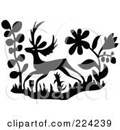 Royalty Free RF Clipart Illustration Of A Black And White Deer And Plants by BestVector