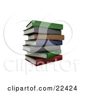 Clipart Illustration Of A Pile Of Stacked Colorful School Books Slightly Off Balance