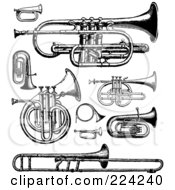 Royalty Free RF Clipart Illustration Of A Digital Collage Of Black And White Brass Instruments