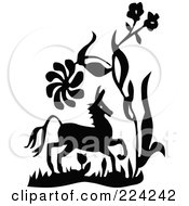 Royalty Free RF Clipart Illustration Of A Black And White Horse And Plants by BestVector