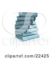 Clipart Illustration Of A Pile Of Stacked Blue Library Books Slightly Spiraling