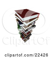 Clipart Illustration Of A Tall Stack Of Colorful School Library Books