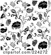 Royalty Free RF Clipart Illustration Of A Black And White Grape Pattern Background 2 by BestVector