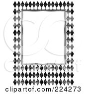 Royalty Free RF Clipart Illustration Of A Black And White Distressed Diamond Invitation Template With Copyspace 2