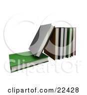 Clipart Illustration Of A Green Book Lying Flat With A Gray Book On Top Of It Leaning Against A Row Of Other Books