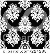Royalty Free RF Clipart Illustration Of A Black And White Floral Pattern Background 2