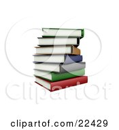 Pile Of Stacked Colorful Green Brown Orange Blue Gray And Red School Library Books Slightly Off Balance