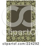 Royalty Free RF Clipart Illustration Of An Invitation Template Of Green Roses Around Green