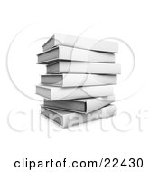 Clipart Illustration Of A Pile Of Stacked White Library Books Slightly Off Balance