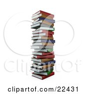 Tall Pile Of Stacked Colorful Red Green Gray Brown And Blue School Library Books