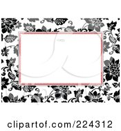 Royalty Free RF Clipart Illustration Of An Invitation Template Of Black And White Roses Around White 2