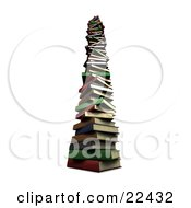 Clipart Illustration Of A Very Tall Stack Of Colorful Red Green Gray Brown And Blue School Library Books by KJ Pargeter