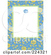 Royalty Free RF Clipart Illustration Of An Invitation Template Of Yellow Roses On Blue Around White
