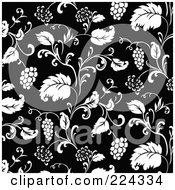 Royalty Free RF Clipart Illustration Of A Black And White Grape Pattern Background 1 by BestVector
