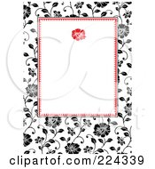 Royalty Free RF Clipart Illustration Of An Invitation Template Of Black And White Roses Around White 1