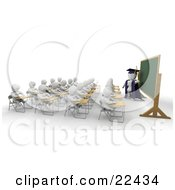 Clipart Illustration Of A Full Classroom Of Students Sitting In Their School Desks And Listening To Their Professor As He Stands At A Chalkboard by KJ Pargeter