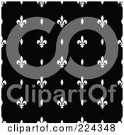 Royalty Free RF Clipart Illustration Of A Black And White Fleur De Lis Pattern Background 3