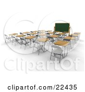 Clipart Illustration Of An Empty School Classroom With Single Student Desks With Wooden Tops Facing A Chalkboard by KJ Pargeter