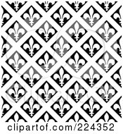 Royalty Free RF Clipart Illustration Of A Black And White Fleur De Lis Pattern Background 2