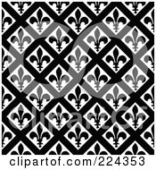 Royalty Free RF Clipart Illustration Of A Black And White Fleur De Lis Pattern Background 1