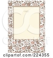 Royalty Free RF Clipart Illustration Of An Invitation Template Of Brown Roses Around Cream