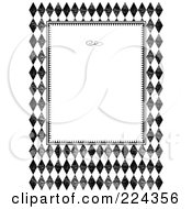 Royalty Free RF Clipart Illustration Of A Black And White Distressed Diamond Invitation Template With Copyspace 1