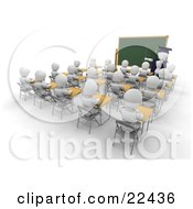 Clipart Illustration Of A White Character Teacher In A Cap And Gown Pointing To A Blank Chalkboard While Teaching A Full Class Of School Students by KJ Pargeter