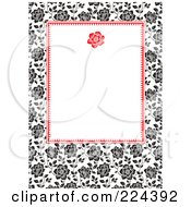 Royalty Free RF Clipart Illustration Of An Invitation Template Of Black And White Roses Around White 3