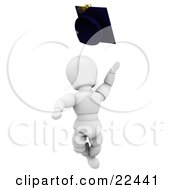 Excited White Character School Graduate Jumping And Throwing A Graduation Cap