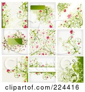 Digital Collage Of Grungy Floral Background Designs