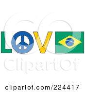 The Word Love With A Peace Symbol And Brazil Flag