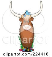 Royalty Free RF Clipart Illustration Of A Bull With Birds And Flowers In The Shape Of The Letter Y