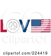 The Word Love With A Peace Symbol And American Flag