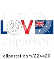 The Word Love With A Peace Symbol And Australia Flag