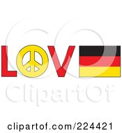 The Word Love With A Peace Symbol And Germany Flag