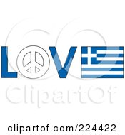 Royalty Free RF Clipart Illustration Of The Word Love With A Peace Symbol And Greece Flag by Maria Bell