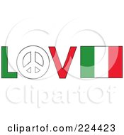 The Word Love With A Peace Symbol And Italy Flag