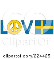 The Word Love With A Peace Symbol And Sweden Flag
