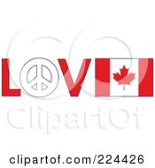 Royalty Free RF Clipart Illustration Of The Word Love With A Peace Symbol And Canadian Flag