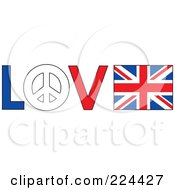 The Word Love With A Peace Symbol And British Flag