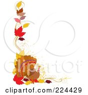 Royalty Free RF Clipart Illustration Of A Thanskgiving Border Of Autumn Leaves And A Turkey Bird by Maria Bell
