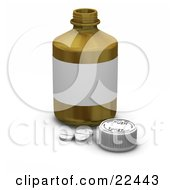 Clipart Illustration Of Three White Prescription Pills By A Safety Cap In Front Of A Pill Bottle