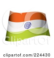 Royalty Free RF Clipart Illustration Of A Waving India Flag by michaeltravers