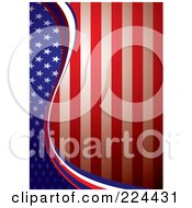 Royalty Free RF Clipart Illustration Of A Vertical American Background Of A Wave Of Stars On Blue Dividing Red And White Stripes